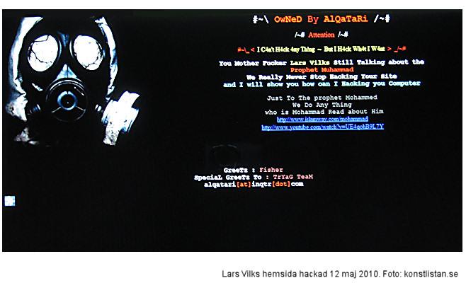 Lars Vilks hemsida hackad